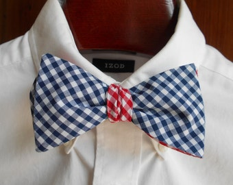 Bow Tie - Ole Miss Blue and Red Gingham - Men's self tie