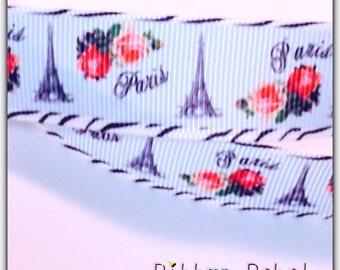 Paris ribbon rose Eiffel Tower Ribbon 7/8 in 3 yards
