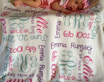 Personalized Baby Blanket, monogram baby gift, birth announcement