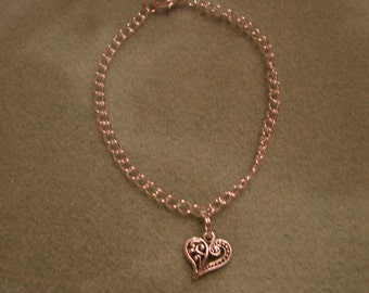 Ankle Bracelet With Filigree Heart on Silver Plate Link Chain