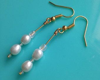 Light Blue Pearl Drop Dangle Earrings