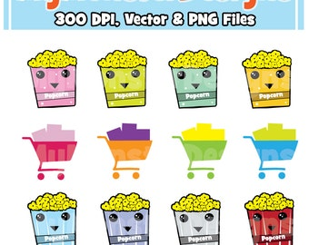 Cute Popcorn Clipart Graphics Personal & Commercial Use, Popcorn, Clip Art, INSTANT Download, Cute Shopping Cart