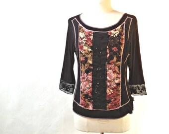 Vintage black or brown T-SHIRT - Size 4 (10 US)