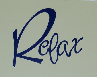 Relax Vinyl Wall Decal Relaxing Spa Room Decor