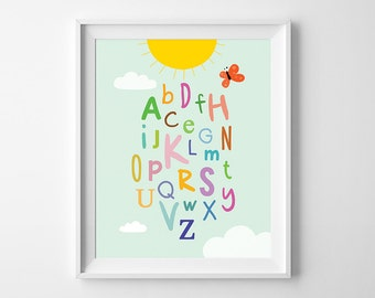Nursery Alphabet, ABC wall art, Nursery Decor, Baby birthday gift, printable ABC poster, kids room wall art, alphabet art, instant download