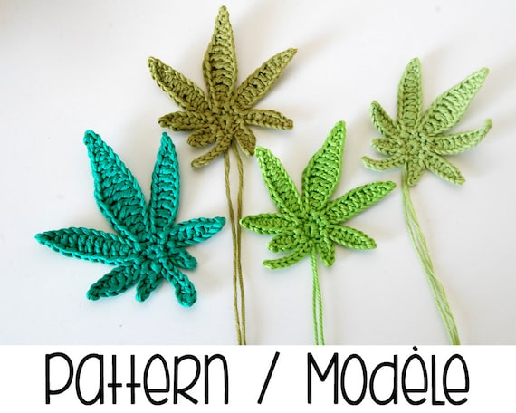 Free Crochet Pattern For Hemp Leaf : MODELE PDF : Feuille de cannabis modele crochet en