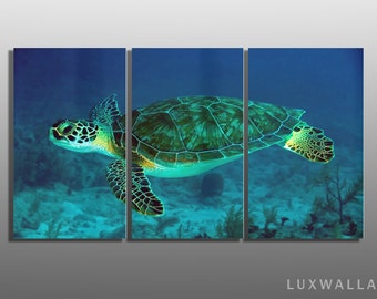 Underwater Sea Turtle 3 Panel Metal Wall Art Ready to Hang Better than Canvas