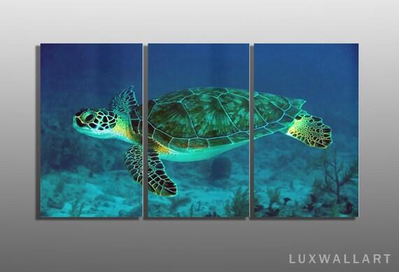 Turtle Wall Art underwater sea turtle 3 panel metal wall art ready to hang