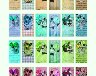 DIGITAL Skull 1 x 2 inch Rectangles 1x2 Domino Collage Sheet  for Domino Jewelry Labels, DIGITAL Atc Aceo Printable Scrapbook