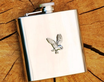 Barn Owl Hip Flask Bird Of Prey Gift FREE ENGRAVING