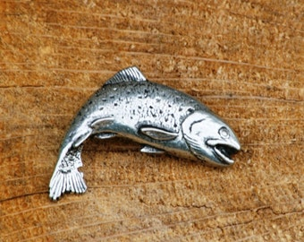 Trout Fish Pin Brooch Badge Pewter Game Fishing Gift
