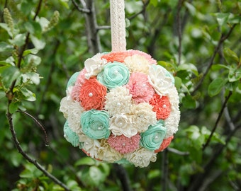 Mint green, Blush &Coral Kissing Ball, Sola Flower Kissing Ball, Flower Girl Kissing Ball, Wedding Decor
