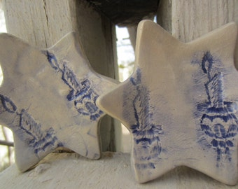 Two Shabbat Candlesticks Ceramic Dishes Tea Lights Home Decor