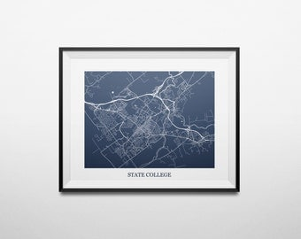 State College, Pennsylvania Abstract Street Map Print