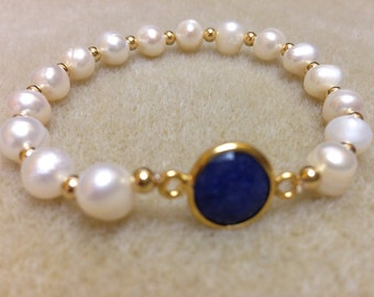1 Safire tone stone in freshwater pearls AB3425