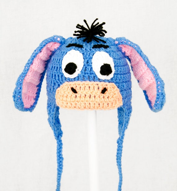Knitting Pattern For Donkey Hat : Blue Eeyore Donkey Earflap Hat in all sizes baby adult