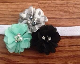 Mint, Black and Gray Chevron Pearl Flower Baby Headband