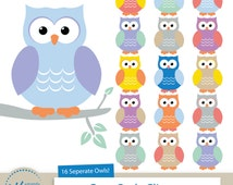 Cute Owls Clipart for Digital Scrapbooking, Crafting, Invitations, Web Design and More - Owl Clipart by Amanda Ilkov
