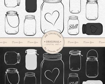 Professional Chalkboard Mason Jar Clip Art / Jar Vectors - Chalk Mason Jar Clipart, Chalkboard Jar Clipart, Preserve Jar Clipart, Jam Jars