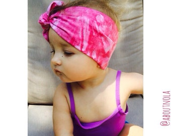 Pink raspberry tiedye turban-Pink baby headwrap-turban-Adult pink turban-Girl's pink turban
