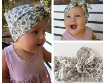 Plaid and Floral reversible tied turban-green plaid tied turban-floral headwrap-girls headwrap-adult reversible topknot