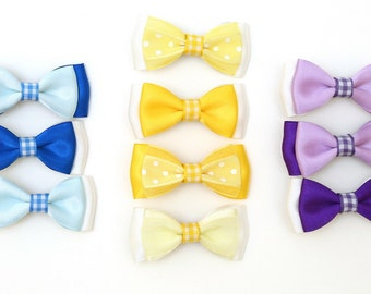 Baby Hair Clips-Double layer satin bow hair clip. Handmade