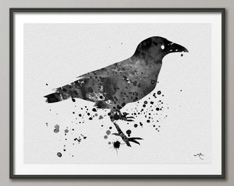 Crow Raven Edgar Allen Poe Nevermore Watercolor Painting Print  Ravenclaw Harry Potter Wall Decor Art Home Decor Wall Hanging [NO 5]