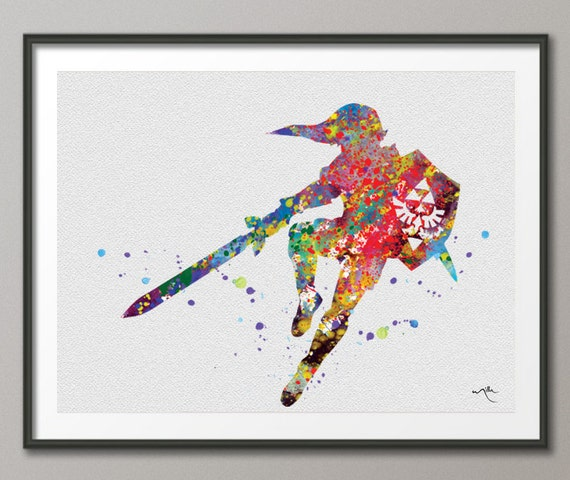 Zelda Wall Decoration : Legend of zelda modern link watercolor illustrations art print