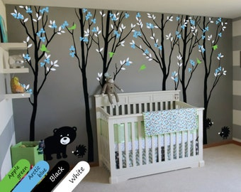 Baby Nursery Wall Design Wall Tree Decal with Large Trees Leaves cute Bear and Hedgehogs - 003