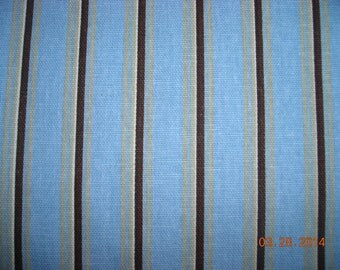"""SALE-Remnant100% cotton Blue/brown/tan stripe-Premier Prints fabric-54"""" wide-1 3/4 yards-7 ounce cotton decorator fabric-FAST SHIPPING"""