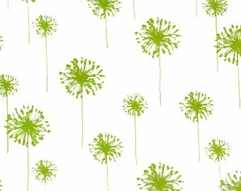 """Remnant End of Bolt DANDELIONS Premier Prints Fabric By The Yard Charteuse Lime Green 54"""" wide"""