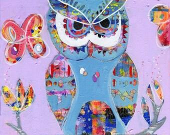 Owl Art Print, Wall Decor, Kids Art, Nursery Decor, Wall Art, Colorful Art, Quirky Art, Art Gift, Owl Art, Choose from 3 different sizes