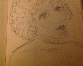 "OOAK Drawing ""Looking at You"""