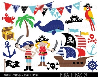 Pirate Clipart, Pirates Clip Art, Nautical, Whale, Anchor, Pirate Ship, Treasure, Flag, Bunting - Commercial & Personal - BUY 2 GET 1 FREE!