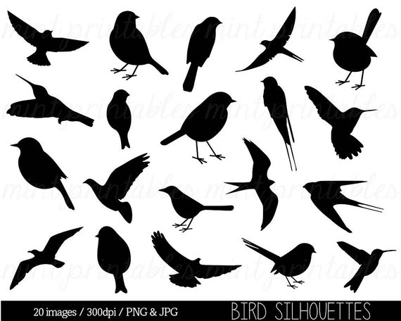 vogel clipart clip art vogel silhouette clipart niedlichen etsy. Black Bedroom Furniture Sets. Home Design Ideas