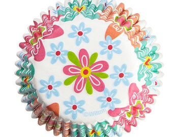 Spring Retro Flowers Wilton Standard Cupcake Liners Baking Cups Muffin Cups