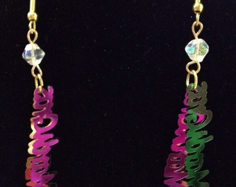 Mardi Gras dangle earrings