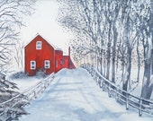 "Winter painting - Red house - Christmas - Snow - Large Original watercolor painting matted and ready to frame in a standard 16"" X 20"" frame"