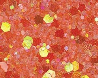 Glitter Fabric. Pastel Tangerine. 100cm x 147cm. JR08965