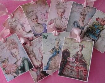Let Them Eat  Cake~HANDMade  Marie Antoinette Gift Tags ~ Glitter ~ Ribbon 9