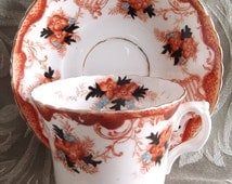 BOGO sale - Very early porcelain teacup with rust and blue designs - antique teacup - antique tea cup - hand painted teacup - imari teacup
