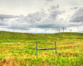 Resurrection Crucifix 3 Crosses with clouds & yellow windflowers on top of a hill in the Nebraska Sandhills EASTER. Fine Art Photography