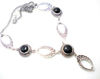 Fashionable Black Onyx Stone Costume Necklace NK-225