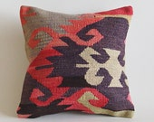"Vintage Turkish Kilim Pillow 16"" x 16"" (40 x 40 cm) Decorative Throw Pillow"