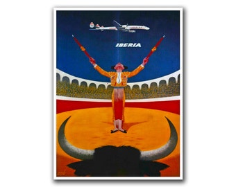 Spain Travel Art Wall Poster Bullfighter Print Sports Spanish Decor (H91)