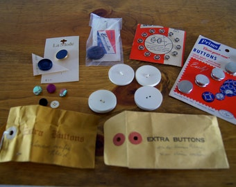 """Vintage Sewing Supplies - Buttons, """"Cover Your Own"""" and Sew-On Snaps"""