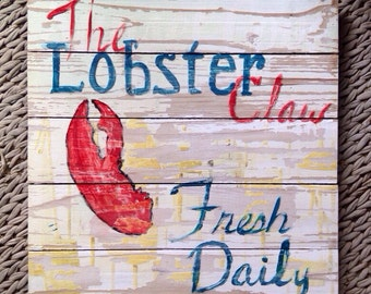 """SIGN 16""""square  The Lobster Claw"""