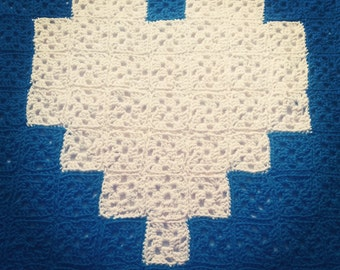 Soft and warm crochet blanket with heart pattern to use as a blanket, bedspread, rug, plaid, or ....