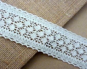 1m Vintage Style Cotton Lace Ivory Trim 45mm