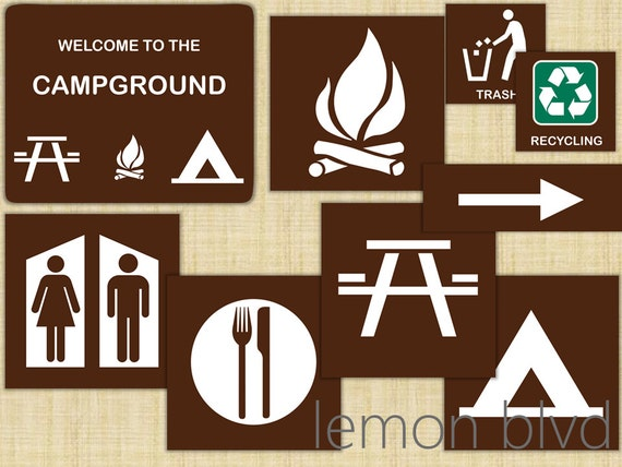 Juicy image with printable camping signs